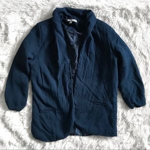 NY Collection Navy Blue Open Front Blazer